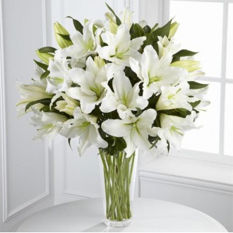 white lilies in vase